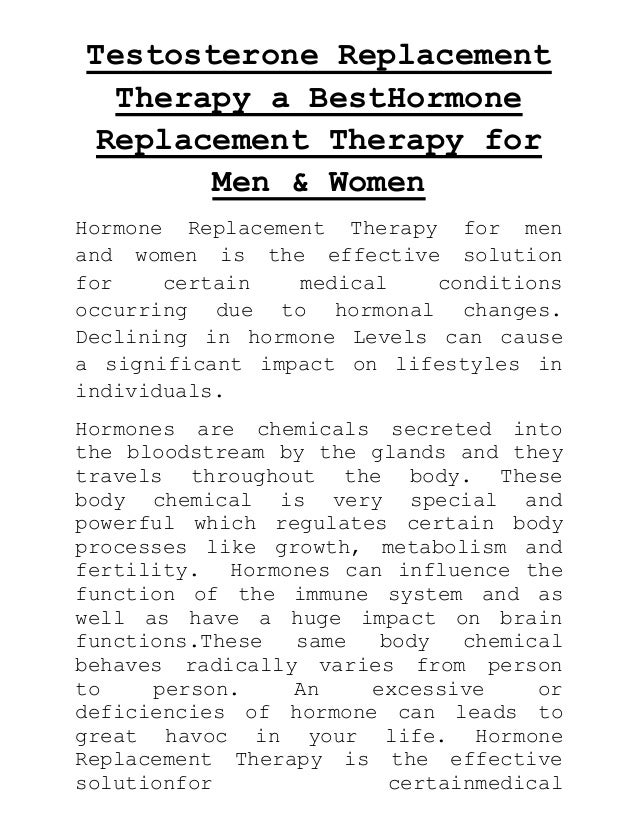Testosterone replacement therapy a best hormone replacement therapy for men & women