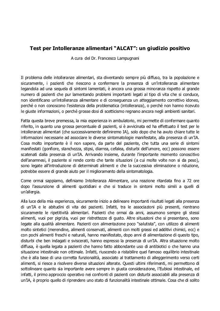 """Test per Intolleranze alimentari """"ALCAT"""": un giudizio positivo                             A cura del Dr. Francesco Lampug..."""