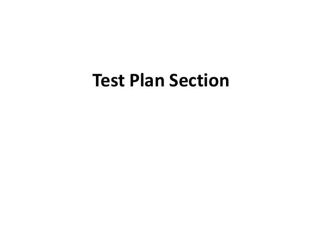 Test Plan Section