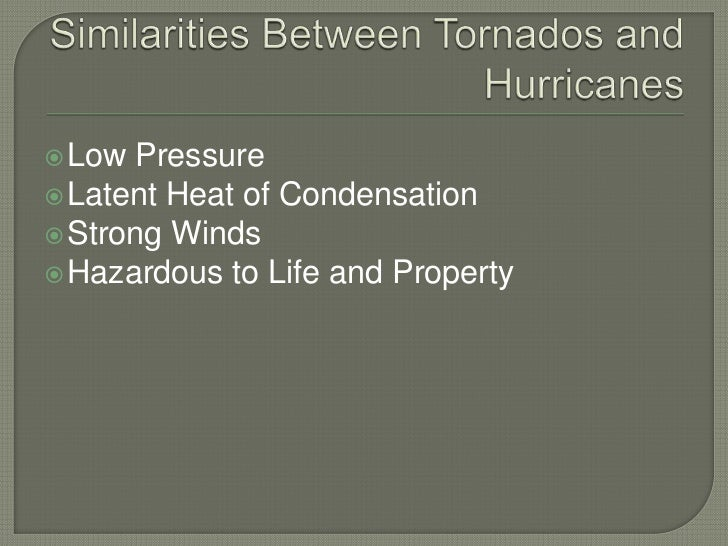 Similarities Between Tornados and Hurricanes<br />Low Pressure<br />Latent Heat of Condensation<br />Strong Winds<br />Haz...