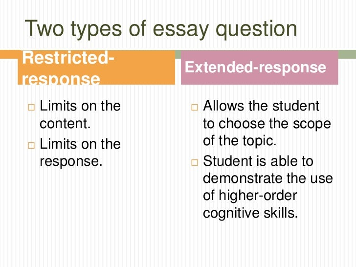 restricted response essay questions examples - Essay Types Examples