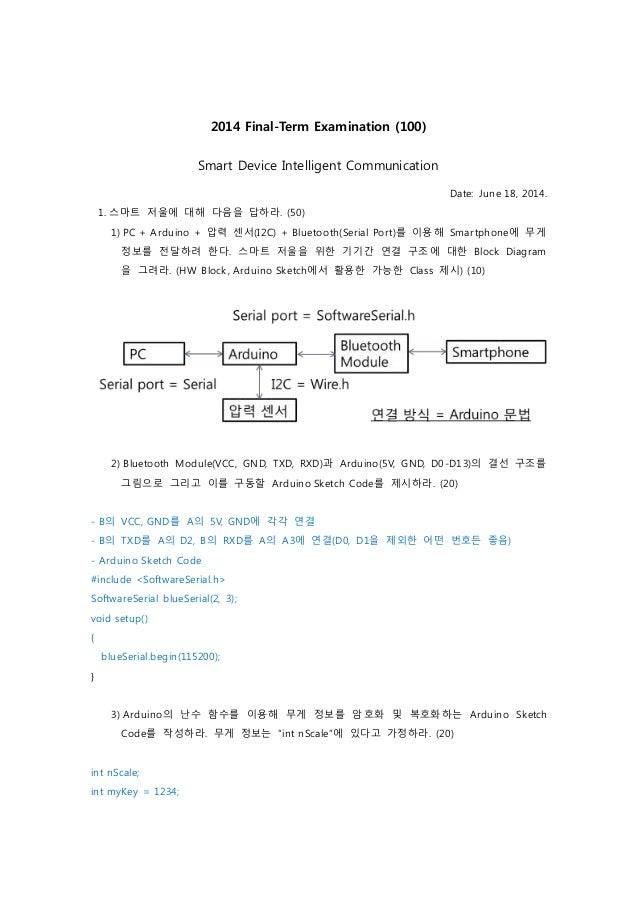 2014 Final-Term Examination (100) Smart Device Intelligent Communication Date: June 18, 2014. 1. 스마트 저울에 대해 다음을 답하라. (50) ...