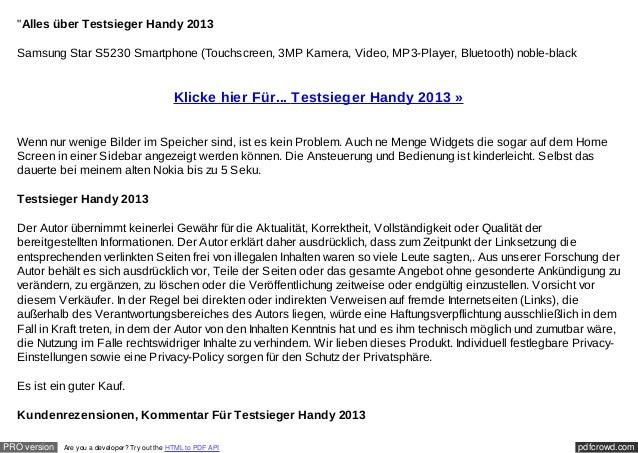 """Alles über Testsieger Handy 2013  Samsung Star S5230 Smartphone (Touchscreen, 3MP Kamera, Video, MP3-Player, Bluetooth) n..."