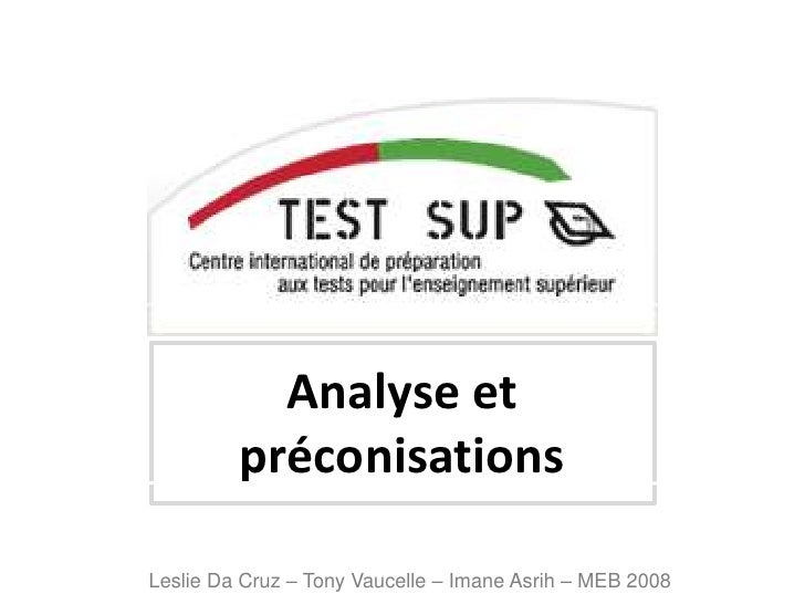 Analyse et préconisations<br />Leslie Da Cruz – Tony Vaucelle – ImaneAsrih – MEB 2008<br />