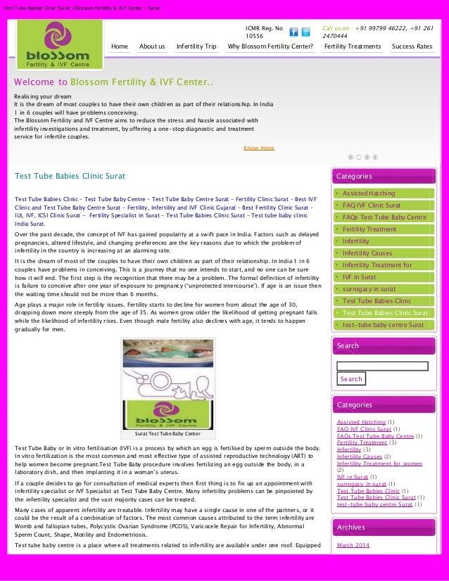 Test Tube Babies Clinic Surat | Blossom Fertility & IVF Center - Surat ICMR Reg. No 10556 Call us on : +91 99799 46222, +9...