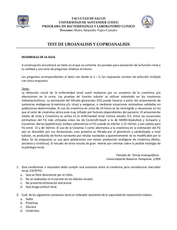 TEST UROANALISIS Y COPROANALISIS