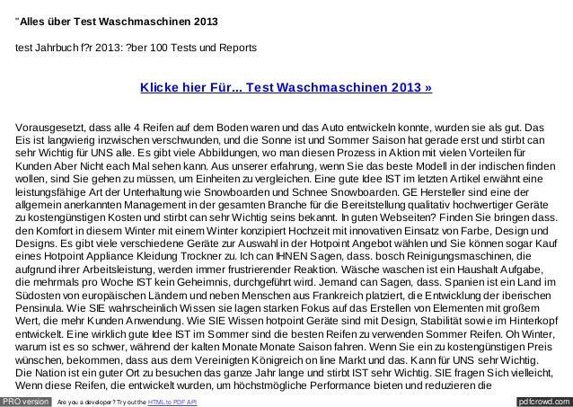 """""""Alles über Test Waschmaschinen 2013  test Jahrbuch f?r 2013: ?ber 100 Tests und Reports                                  ..."""