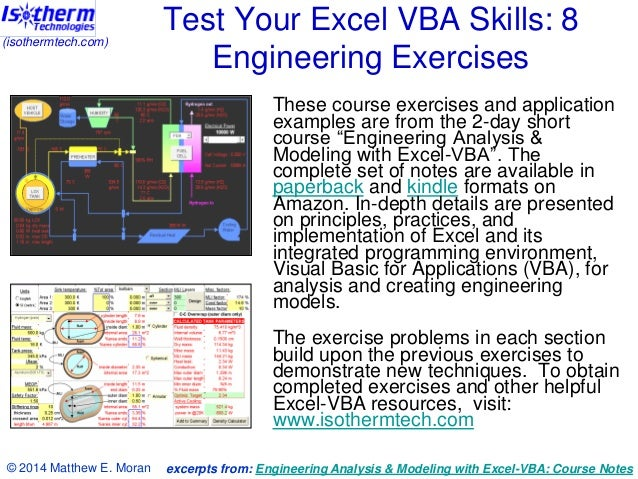 (isothermtech.com)  Test Your Excel VBA Skills: 8 Engineering Exercises These course exercises and application examples ar...