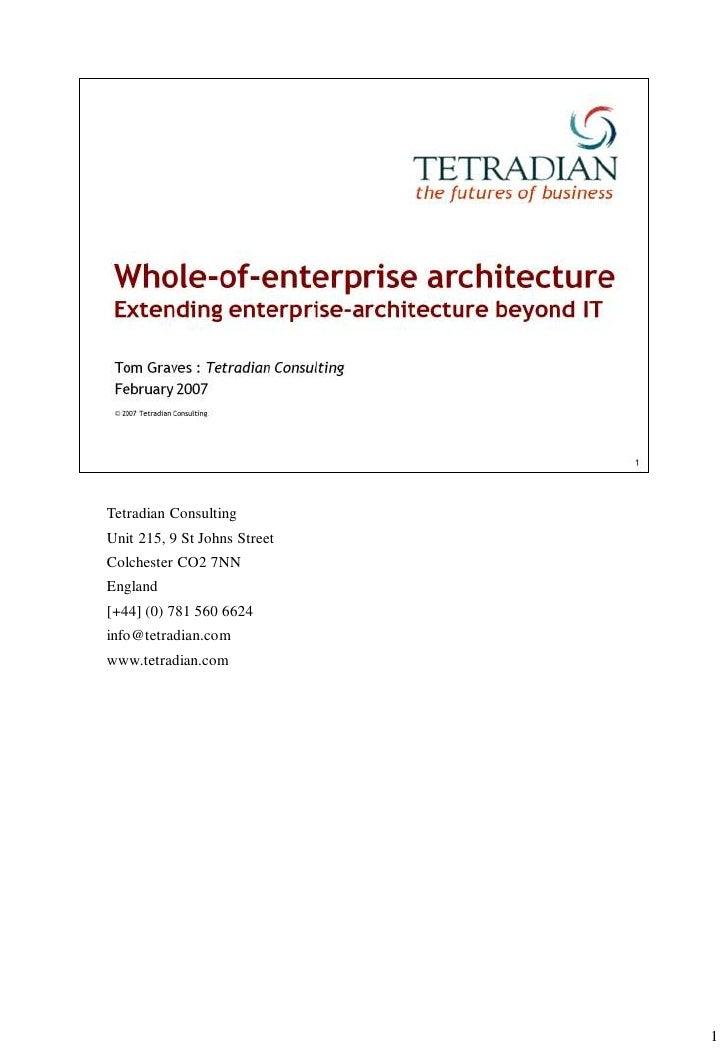 Whole-of-enterprise architecture