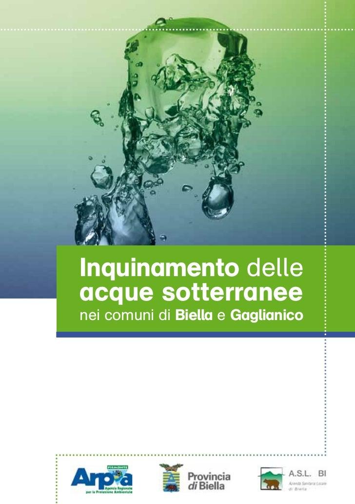 Inquinamento delle acque sotterranee nei comuni di Biella e Gaglianico