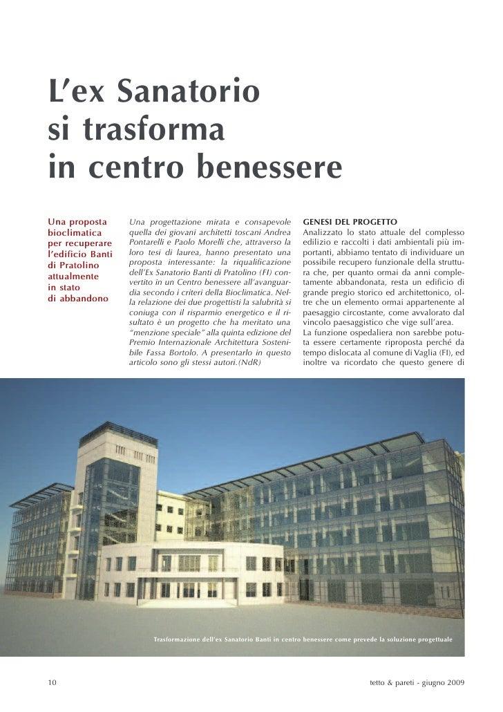 L'ex Sanatorio si trasforma in centro benessere Una proposta       Una progettazione mirata e consapevole                G...
