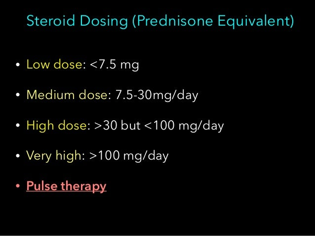steroid equivalent dose table