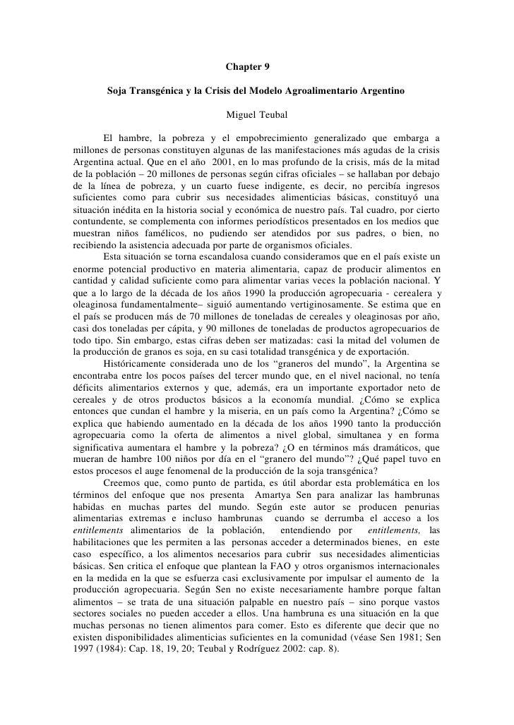 Chapter 9          Soja Transgénica y la Crisis del Modelo Agroalimentario Argentino                                      ...