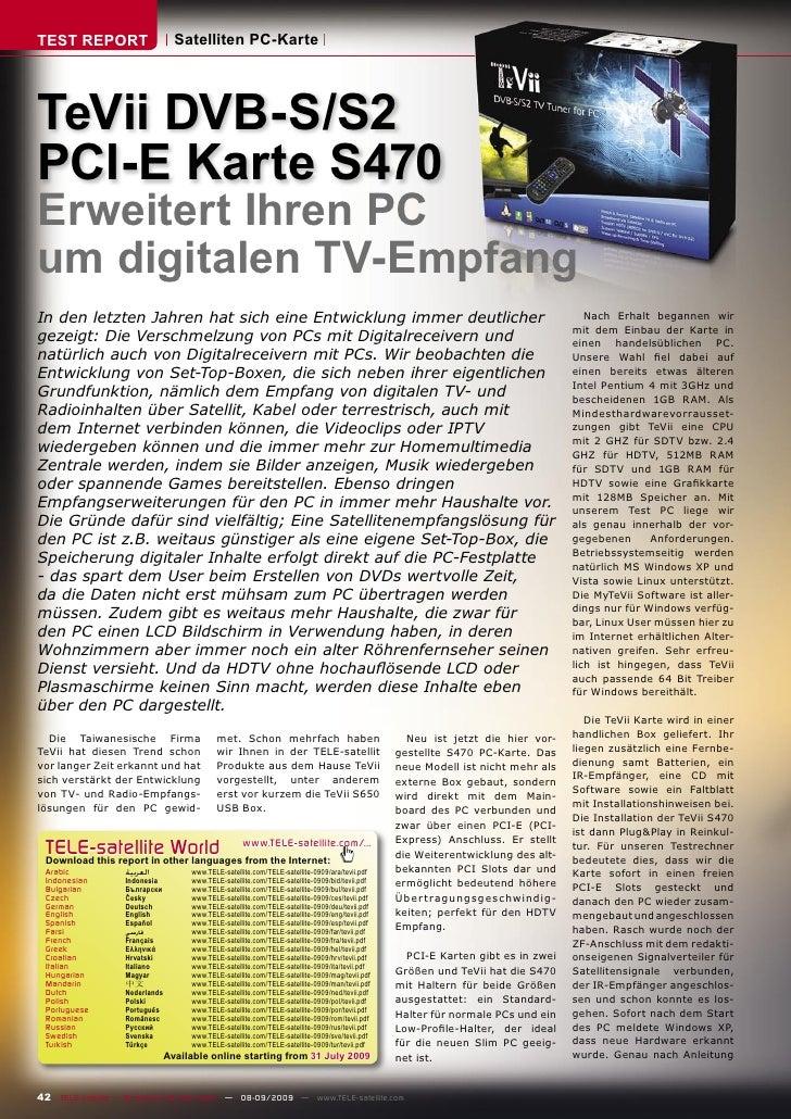TEST REPORT                       Satelliten PC-Karte     TeVii DVB-S/S2 PCI-E Karte S470 Erweitert Ihren PC um digitalen ...