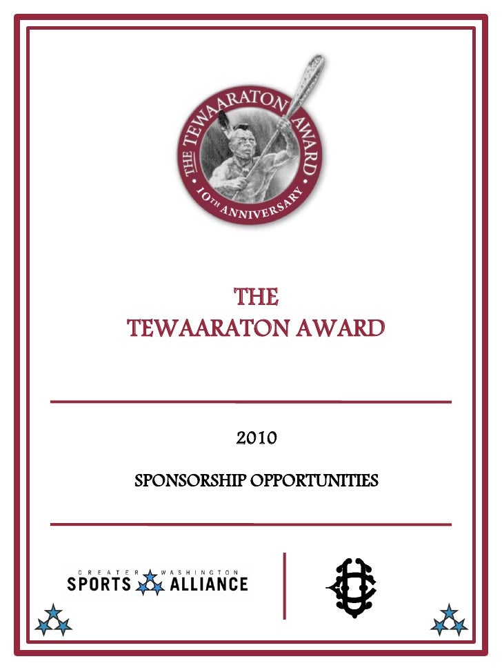 THE TEWAARATON AWARD              2010  SPONSORSHIP OPPORTUNITIES