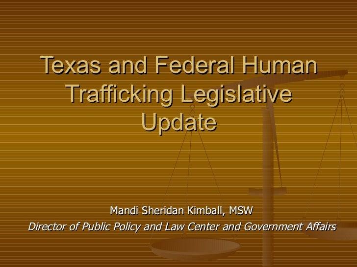 Texas and federal human trafficking 82nd legislative update