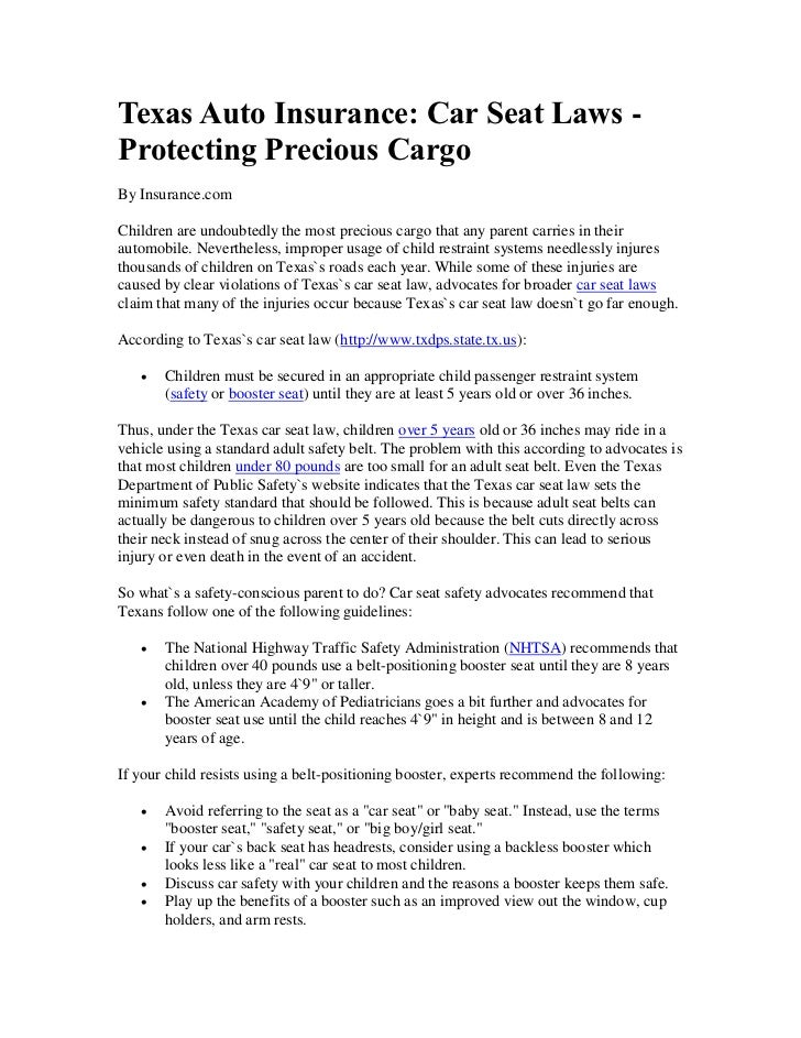 Texas Auto Insurance: Car Seat Laws -Protecting Precious CargoBy Insurance.comChildren are undoubtedly the most precious c...