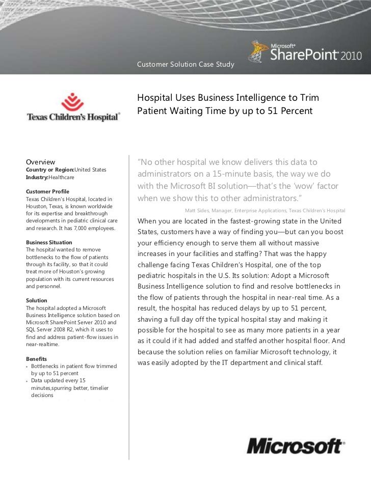 Customer Solution Case Study                                          Hospital Uses Business Intelligence to Trim         ...