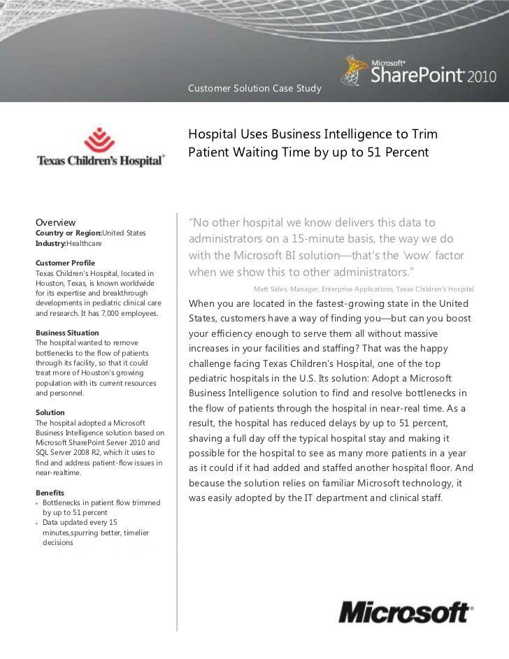 Texas Childrens Hospital SharePoint Server 2010 Case Study - ROI and BI