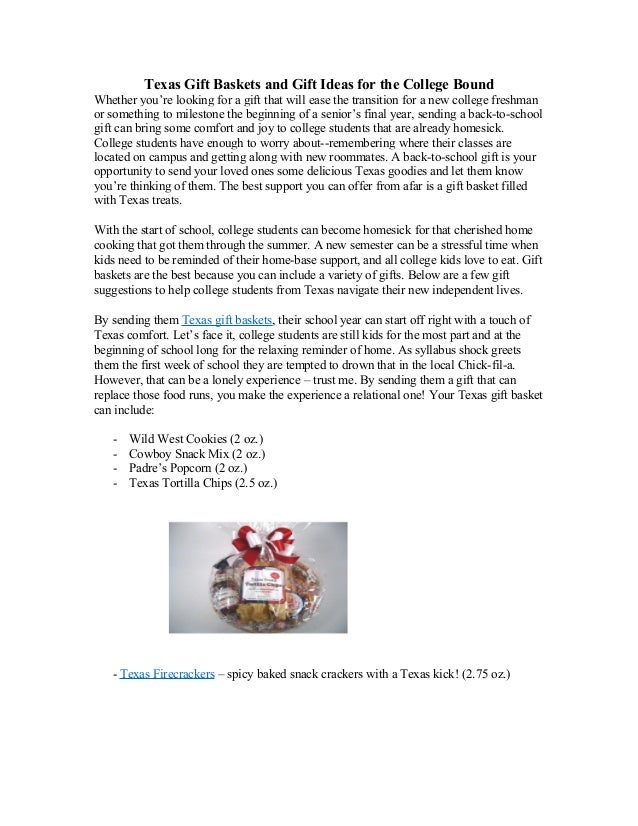 Texas Gift Baskets and Gift Ideas for the College Bound Whether you're looking for a gift that will ease the transition fo...