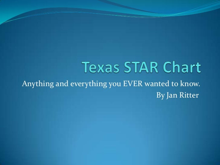 Texas STAR Chart<br />Anything and everything you EVER wanted to know.<br />By Jan Ritter<br />