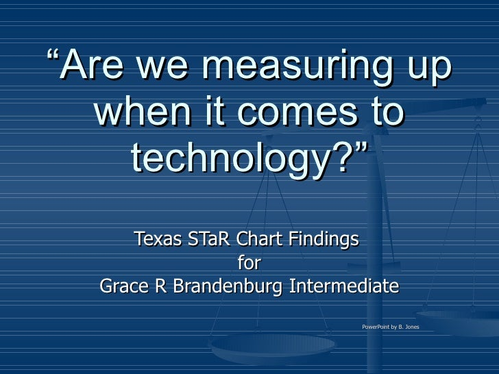 """"""" Are we measuring up when it comes to technology?"""" Texas STaR Chart Findings  for Grace R Brandenburg Intermediate PowerP..."""