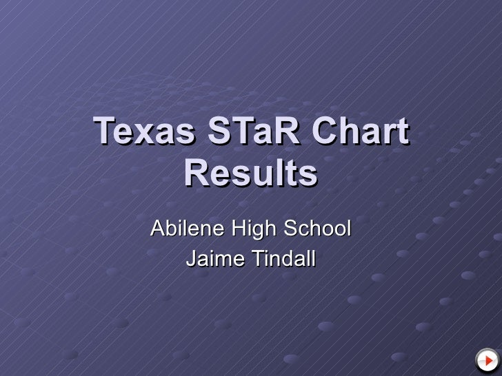 Texas STaR Chart Results Abilene High School Jaime Tindall