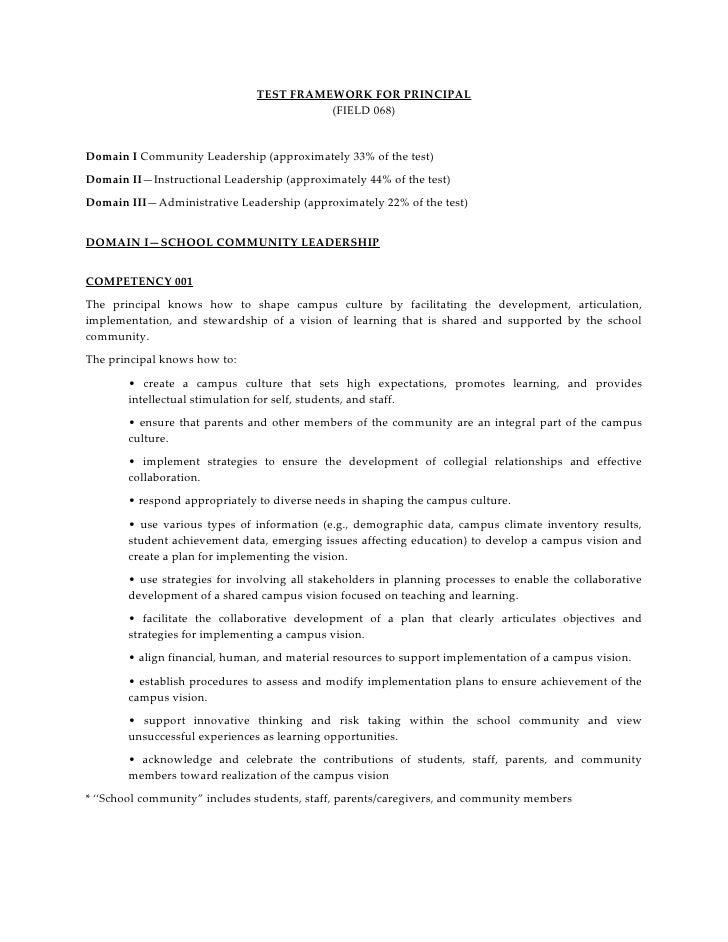 TEST FRAMEWORK FOR PRINCIPAL                                         (FIELD 068)Domain I Community Leadership (approximate...