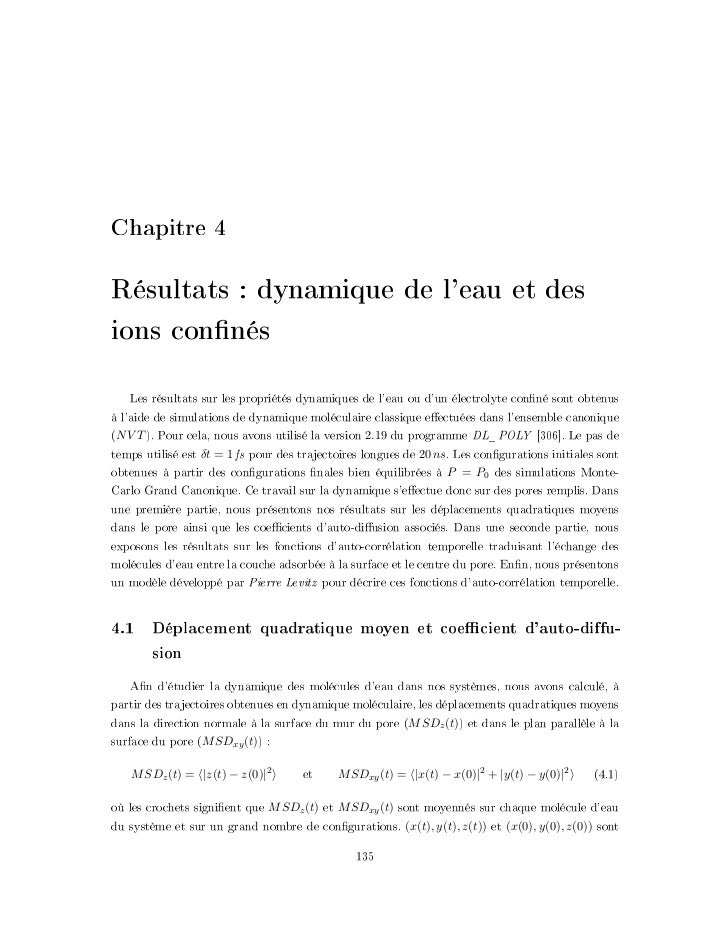 """+D=FEJHA """"Résultats : dynamique de leau et desions connés    Les résultats sur les propriétés dynamiques de leau ou dun él..."""