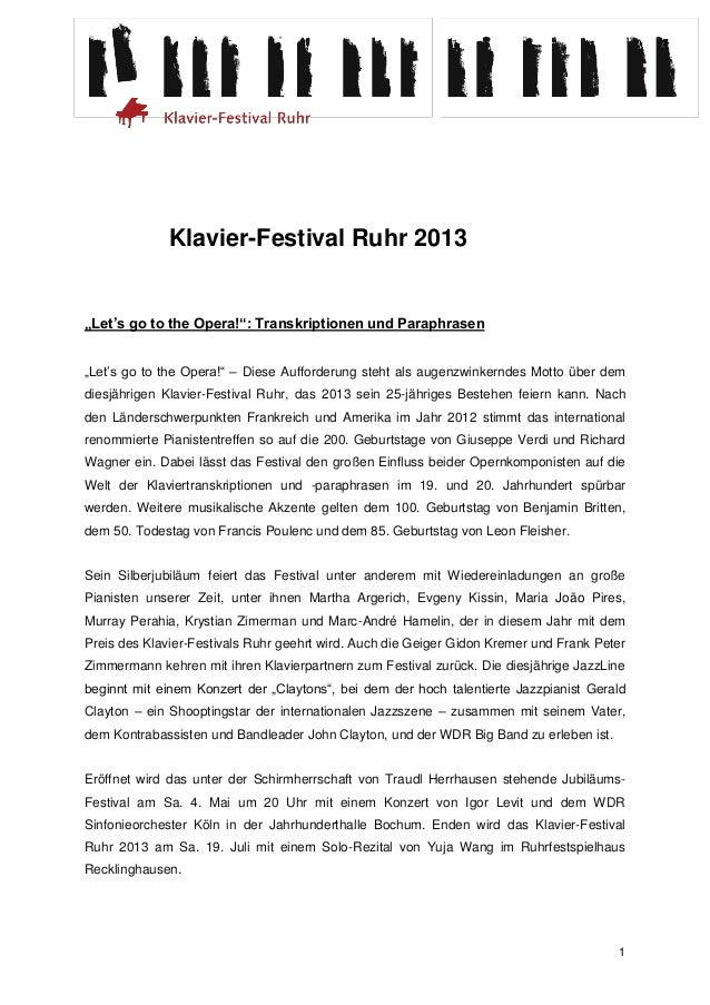 "Klavier-Festival Ruhr 2013""Let's go to the Opera!"": Transkriptionen und Paraphrasen""Let's go to the Opera!"" – Diese Auffor..."