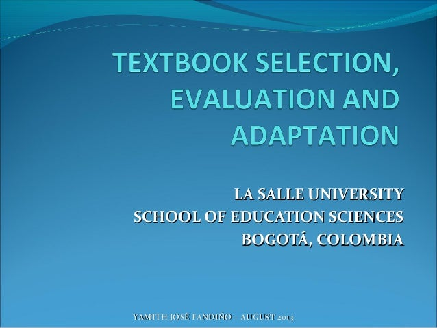 LA SALLE UNIVERSITYLA SALLE UNIVERSITY SCHOOL OF EDUCATION SCIENCESSCHOOL OF EDUCATION SCIENCES BOGOTÁ, COLOMBIABOGOTÁ, CO...