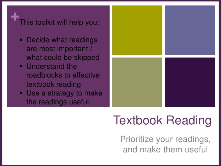 This toolkit will help you:<br /><ul><li>Decide what readings are most important / what could be skipped