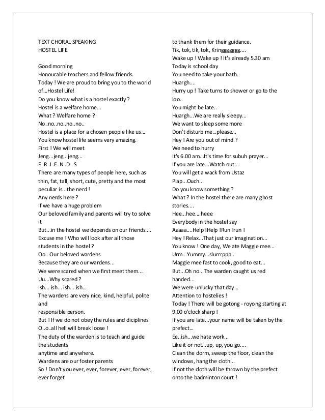 Speech Choir Essay Sample