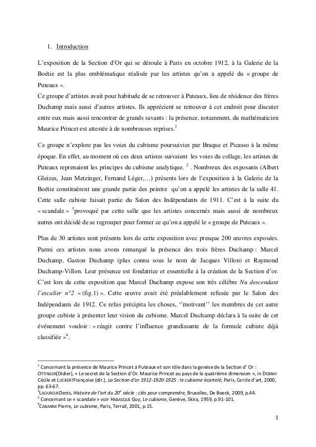 1. Introduction L'exposition de la Section d'Or qui se déroule à Paris en octobre 1912, à la Galerie de la Boétie est la p...