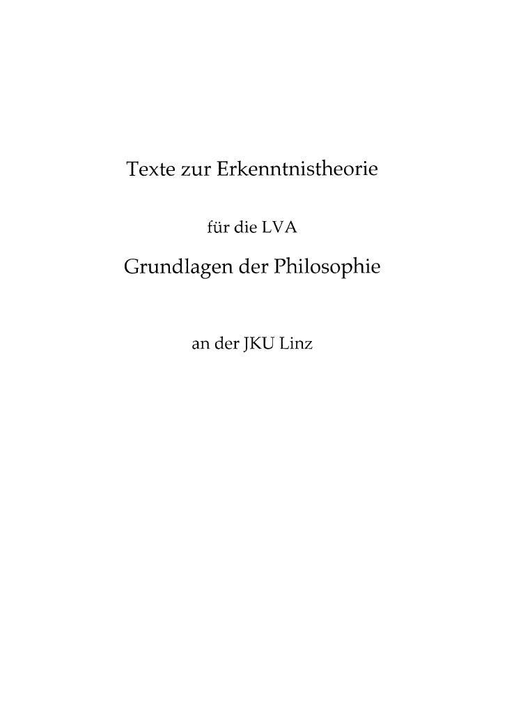 Texte erkenntnistheorie