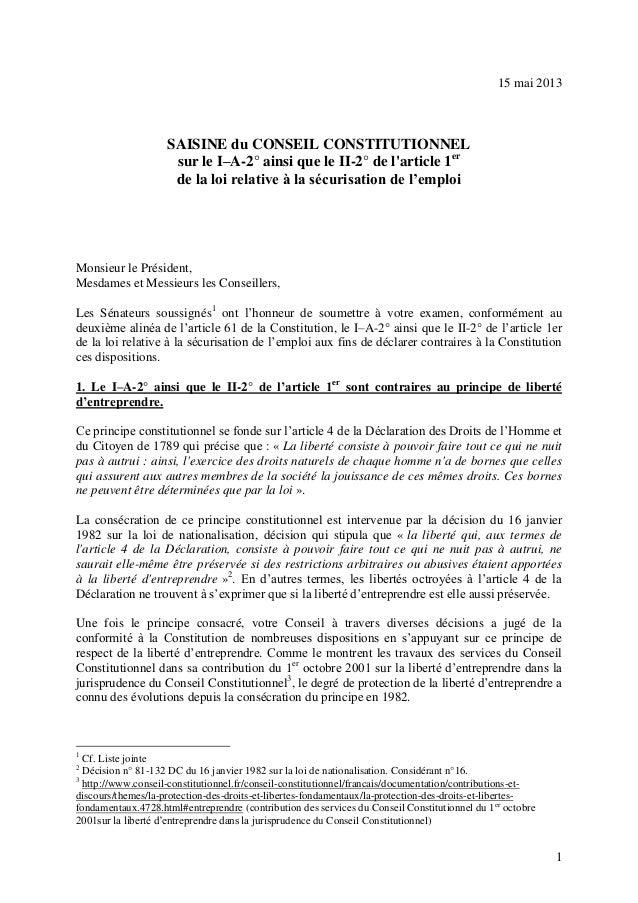 115 mai 2013SAISINE du CONSEIL CONSTITUTIONNELsur le I–A-2° ainsi que le II-2° de larticle 1erde la loi relative à la sécu...