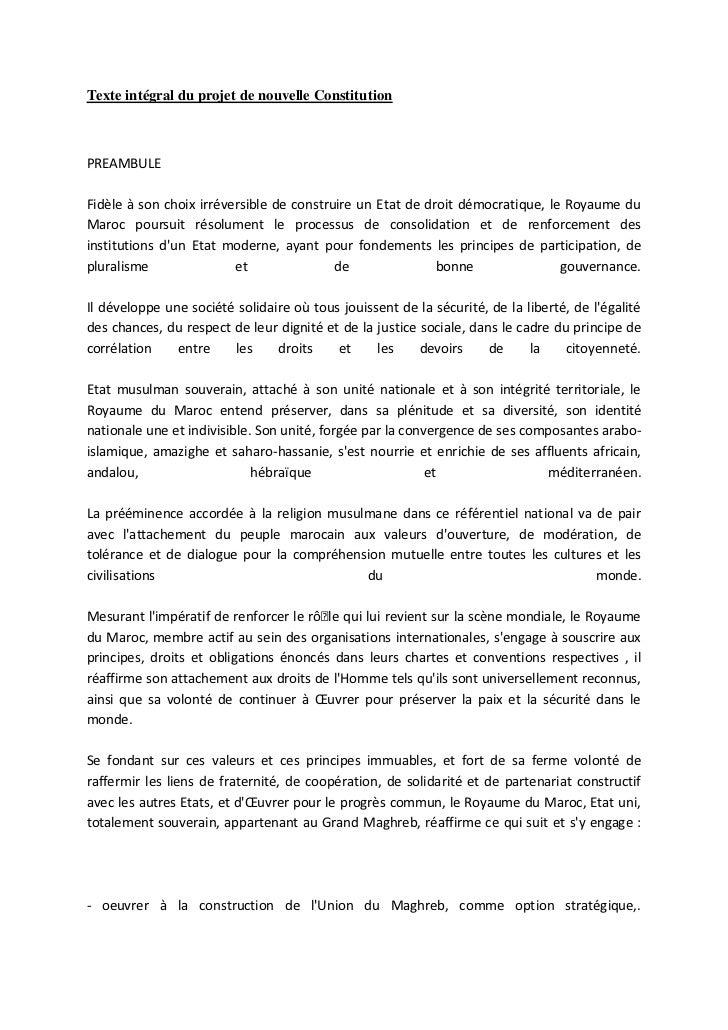 Texte intégral du projet de nouvelle ConstitutionPREAMBULEFidèle à son choix irréversible de construire un Etat de droit d...