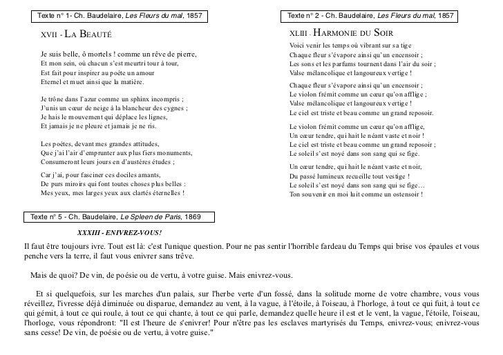 Texte n° 1- Ch. Baudelaire, Les Fleurs du mal, 1857                            Texte n° 2 - Ch. Baudelaire, Les Fleurs du ...