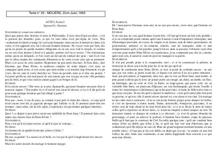 Texte n° 20 - MOLIÈRE, Dom Juan, 1665                                    ACTE I, Scène I                                  ...