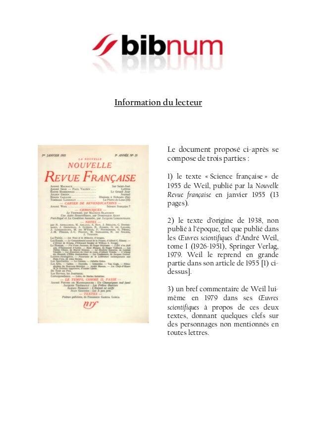 Information du lecteur  Le document proposé ci-après se compose de trois parties : 1) le texte « Science française » de 19...