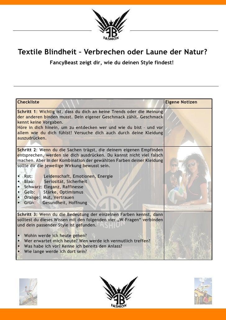 Textile Blindheit Checkliste