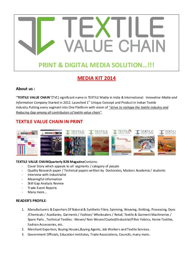 """PRINT & DIGITAL MEDIA SOLUTION…!!! MEDIA KIT 2014 About us : """"TEXTILE VALUE CHAIN""""(TVC) significant name in TEXTILE Media ..."""