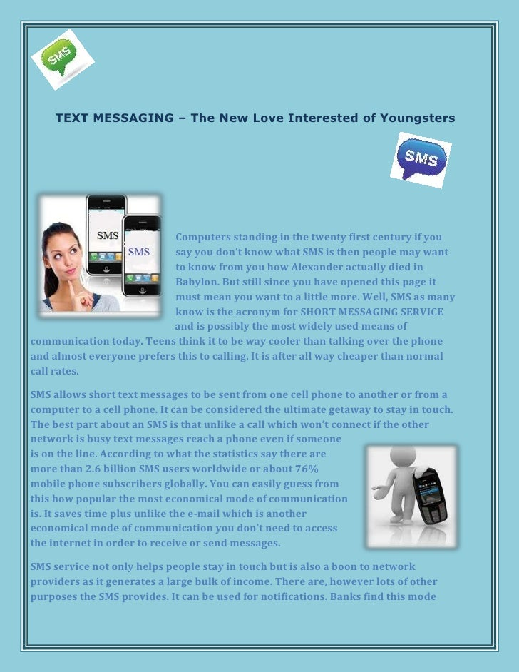 TEXT MESSAGING – The New Love Interested of Youngsters                           Computers standing in the twenty first ce...