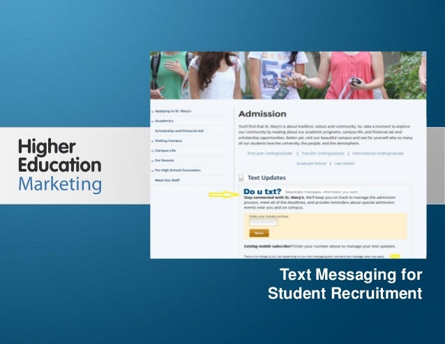 Text messaging for student recruitment