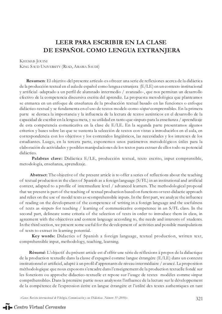 LEER PARA ESCRIBIR EN LA CLASE                    DE ESPAÑOL COMO LENGUA EXTRANJERAKHEMAIS JOUINIKING SAUD UNIVERSITY (RIA...