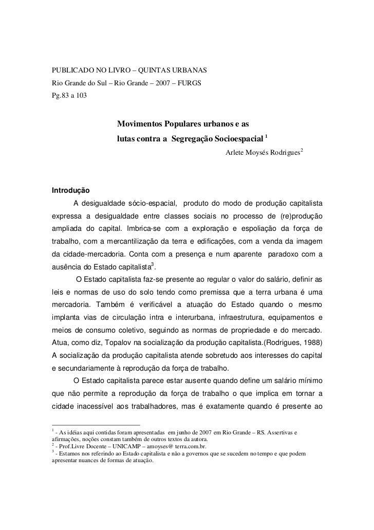 PUBLICADO NO LIVRO – QUINTAS URBANASRio Grande do Sul – Rio Grande – 2007 – FURGSPg.83 a 103                         Movim...