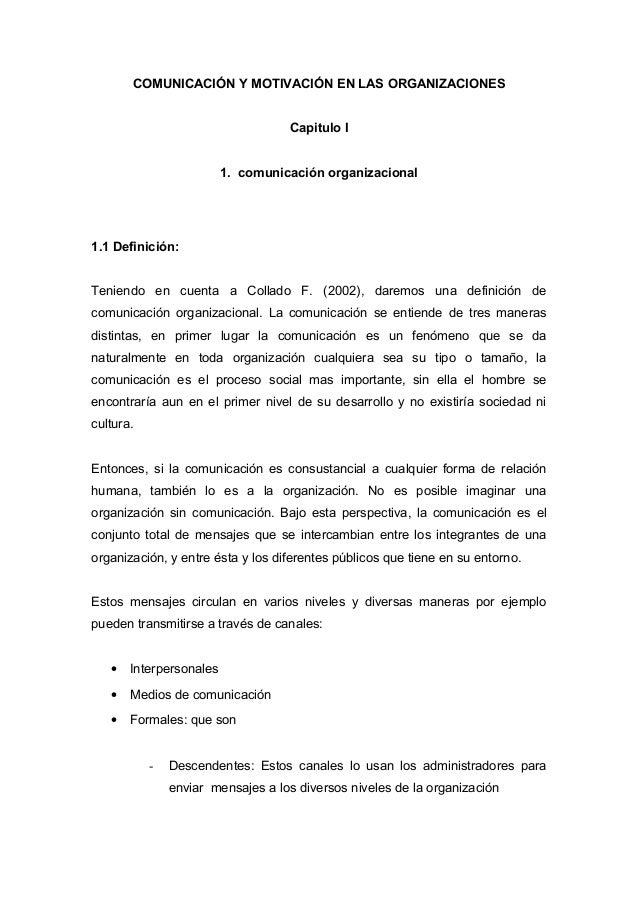 COMUNICACIÓN Y MOTIVACIÓN EN LAS ORGANIZACIONES                                      Capitulo I                           ...
