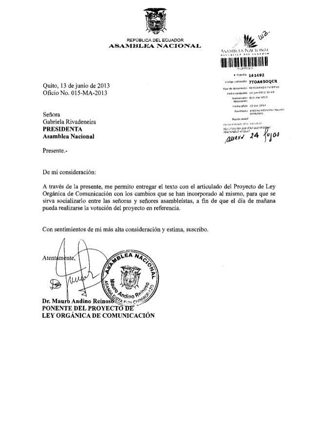 Texto final Proyecto de Ley de Comunicación de Ecuador (2013)
