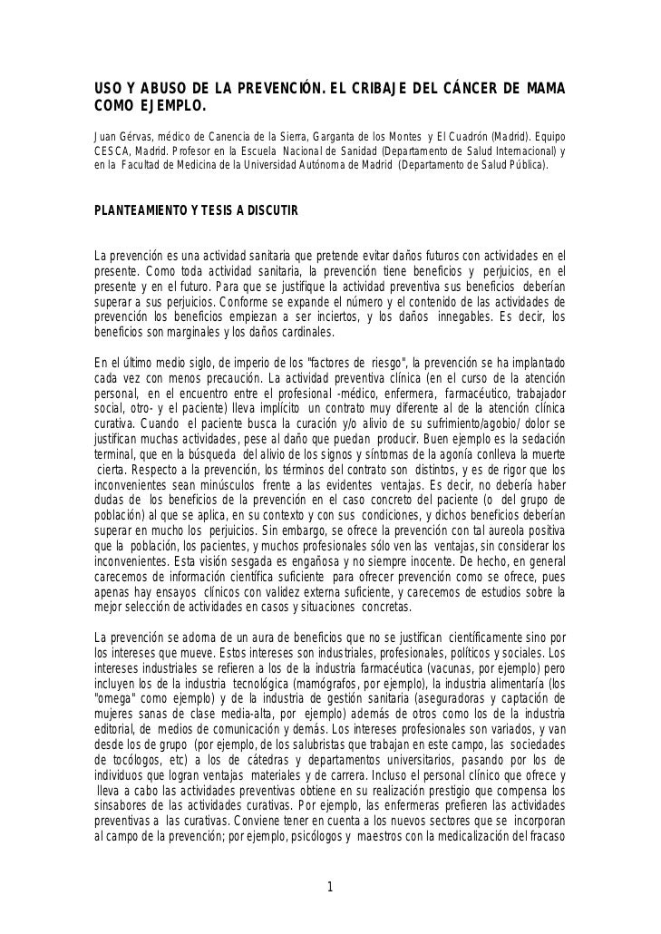 USO Y ABUSO DE LA PREVENCIÓN. EL CRIBAJE DEL CÁNCER DE MAMACOMO EJEMPLO.Juan Gérvas, médico de Canencia de la Sierra, Garg...
