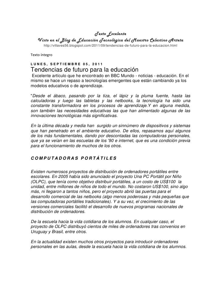 Texto Excelente    Visto en el Blog de Educación Tecnológica del Maestro Celestino Arteta       http://villaves56.blogspot...
